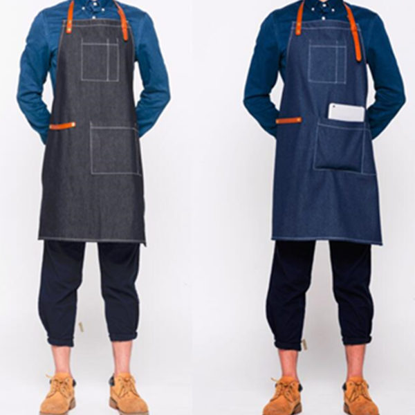 Black Blue Denim Bib Apron
