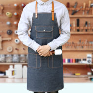 Blue Black Denim Bib Apron