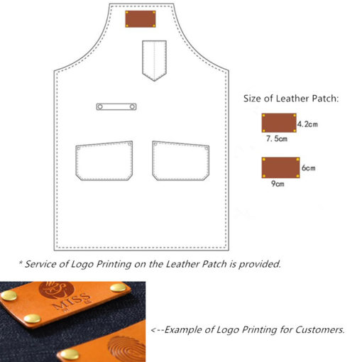 Blue Gray Canvas Apron Crossback Leather Straps