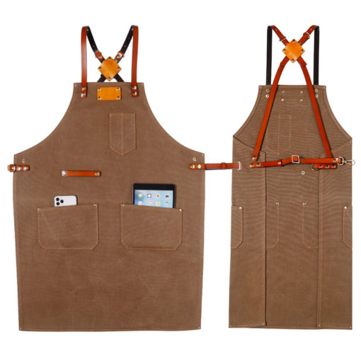 Blue Gray Canvas Apron Crossback Leather Straps