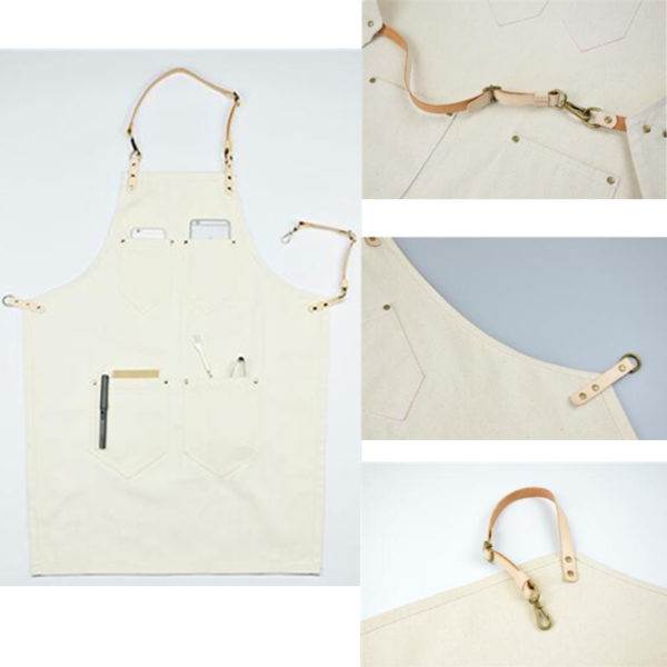 White Canvas Denim Bib Apron