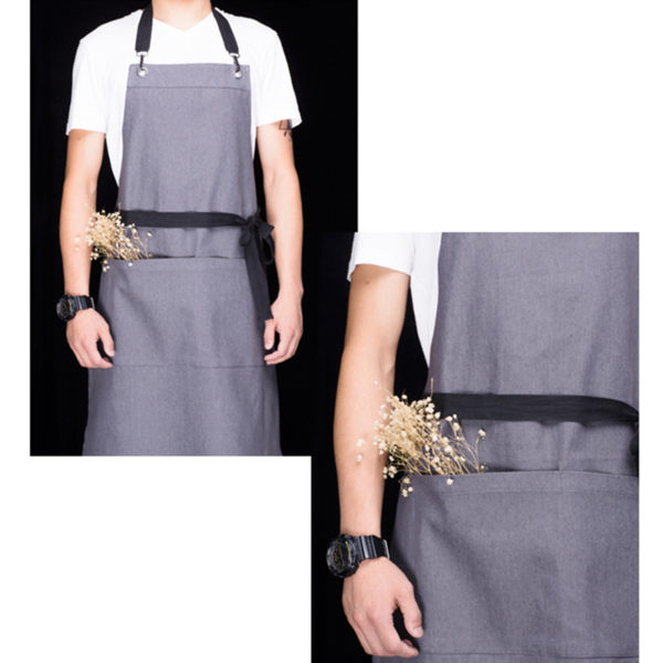 Gray Denim Bib Apron