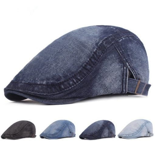Black Blue Adjustable Denim Beret