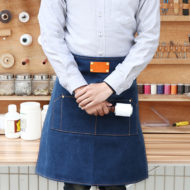 Half Length Blue Gray Red Canvas Apron