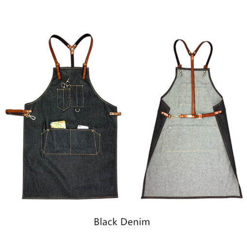 Dark Blue Denim Gray Canvas Bib Apron