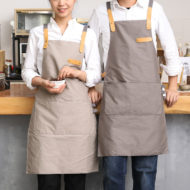 Full Length Gray Khaki Black Cotton Linen Apron