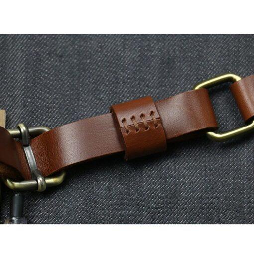 Blue Denim Bib Apron Cowhide Leather Straps
