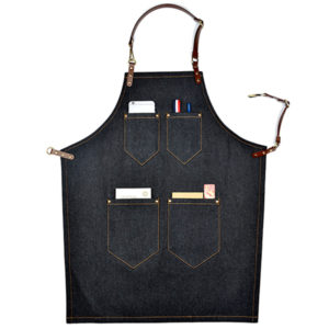Black Denim White Canvas Bib Apron