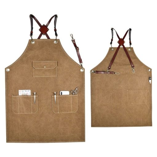 Blue Denim Green Khaki Canvas Apron Leather Straps