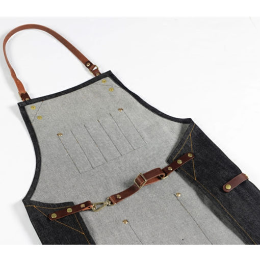 Black Denim Bib Apron Leather Strap