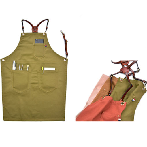 Red Green Brown Pink Cotton Apron