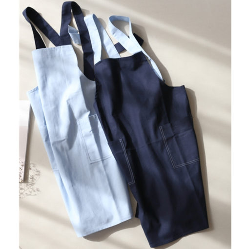 Long Blue Brown Gray Cotton Linen Apron