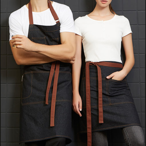 Black Denim Long Waist Apron
