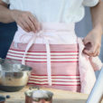 Blue Pink Striped Denim Waist Apron