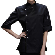 Female Black White Poly Cotton Short Sleeve Shirt