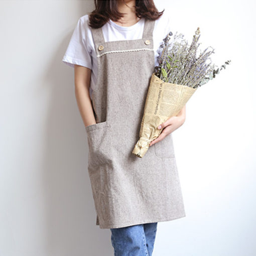 Blue Gray Pink Long Cotton Linen Apron