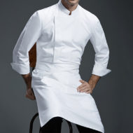 White Gray Black Long Sleeve Chef Shirt