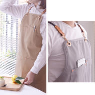 Long Gray Khaki X Back Cotton Apron