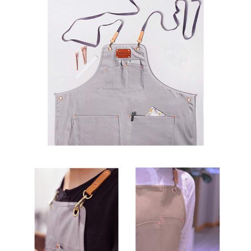 Long Gray Khaki X Back Cotton Apron