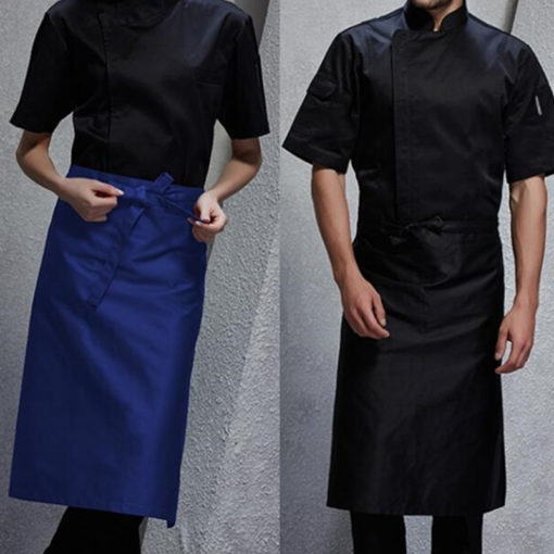 Blue Gray White Poly Cotton Waist Apron