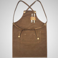 Long Black Denim Brown Canvas Apron