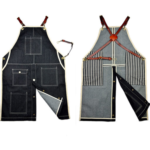Long Black Denim Bib Apron