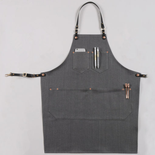 Long Gray Denim Apron