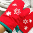 1 Pair Snowflake Cotton Oven Gloves