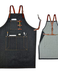 Black Gray Denim White Canvas Bib Apron