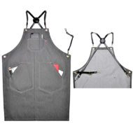 Gray Denim Leather Strap Apron