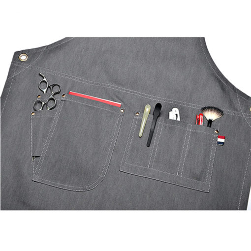 Gray Denim Leather Strap Apron