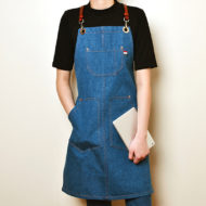 Blue Denim Apron Leather Strap