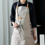 Long Gray Khaki Black Cotton Apron
