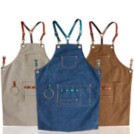 Blue Gray Brown Canvas Apron Leather Strap