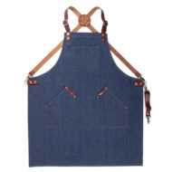 Black Blue Denim Apron Leather Strap