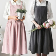 Gray Pink Cotton Long Apron