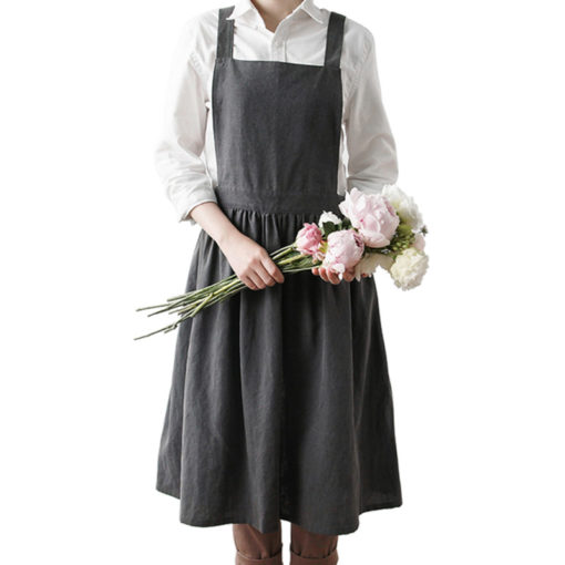 Gray Pink Cotton Long Apron