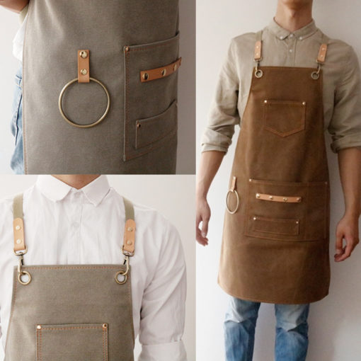 Long Khaki Gray Canvas Apron