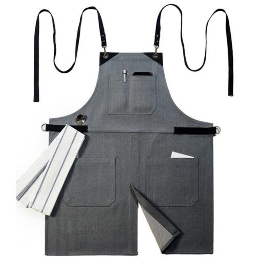 Black Denim Apron Cotton Strap