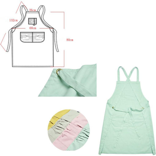 Yellow Gray Green Pink Cotton Long Apron. Suitable for Uniform of Barista, Bartender, Baker, Waiter, Waitress, Florist, Painter, Gardener, or Work wear of Salon, Bakery, Cafe, Restaurant, Hotel, Bistro, Pastry shop, Coffee shop, Craft workshop etc.