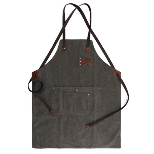 Long Black Gray Canvas Apron