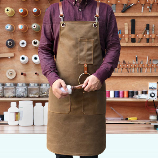 Gray Blue Khaki Canvas Apron Leather Straps