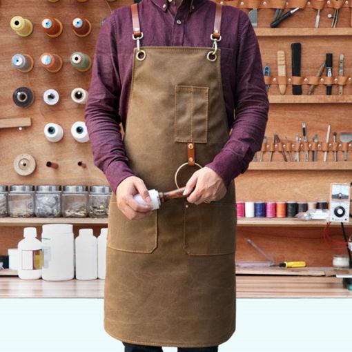 Gray Blue Khaki Canvas Apron Leather Straps