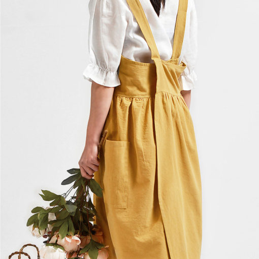 Black Yellow Cotton Linen Apron