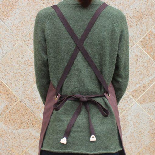 Long Khaki Gray Cotton Apron