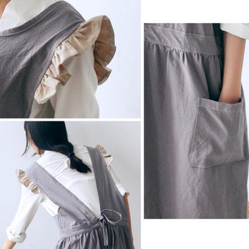 Gray Khaki Cotton Linen Apron