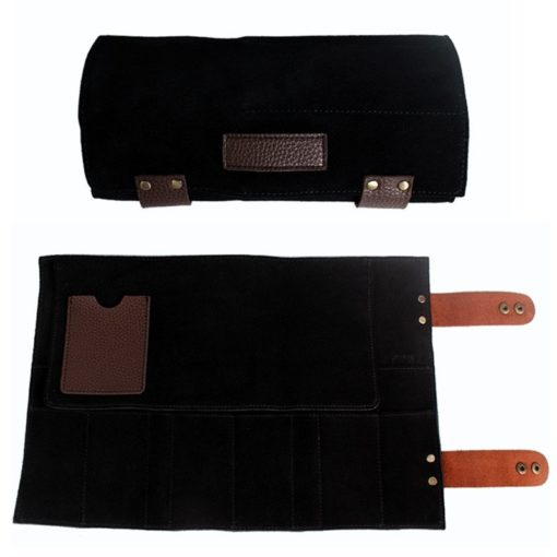 Black Gray Cowhide Leather Barber Tool Roll