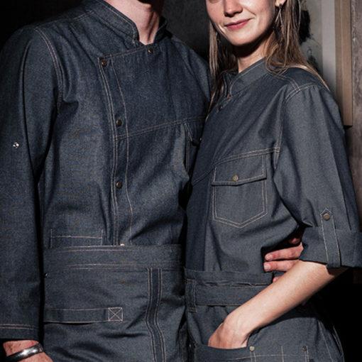 Blue Denim Long Sleeve Chef Shirt