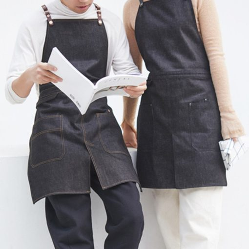 Black Denim Split Leg Apron Crossback Straps