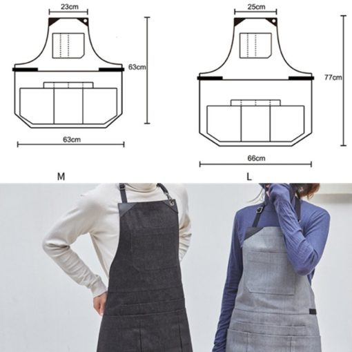 Black Gray Denim Apron Cotton Straps